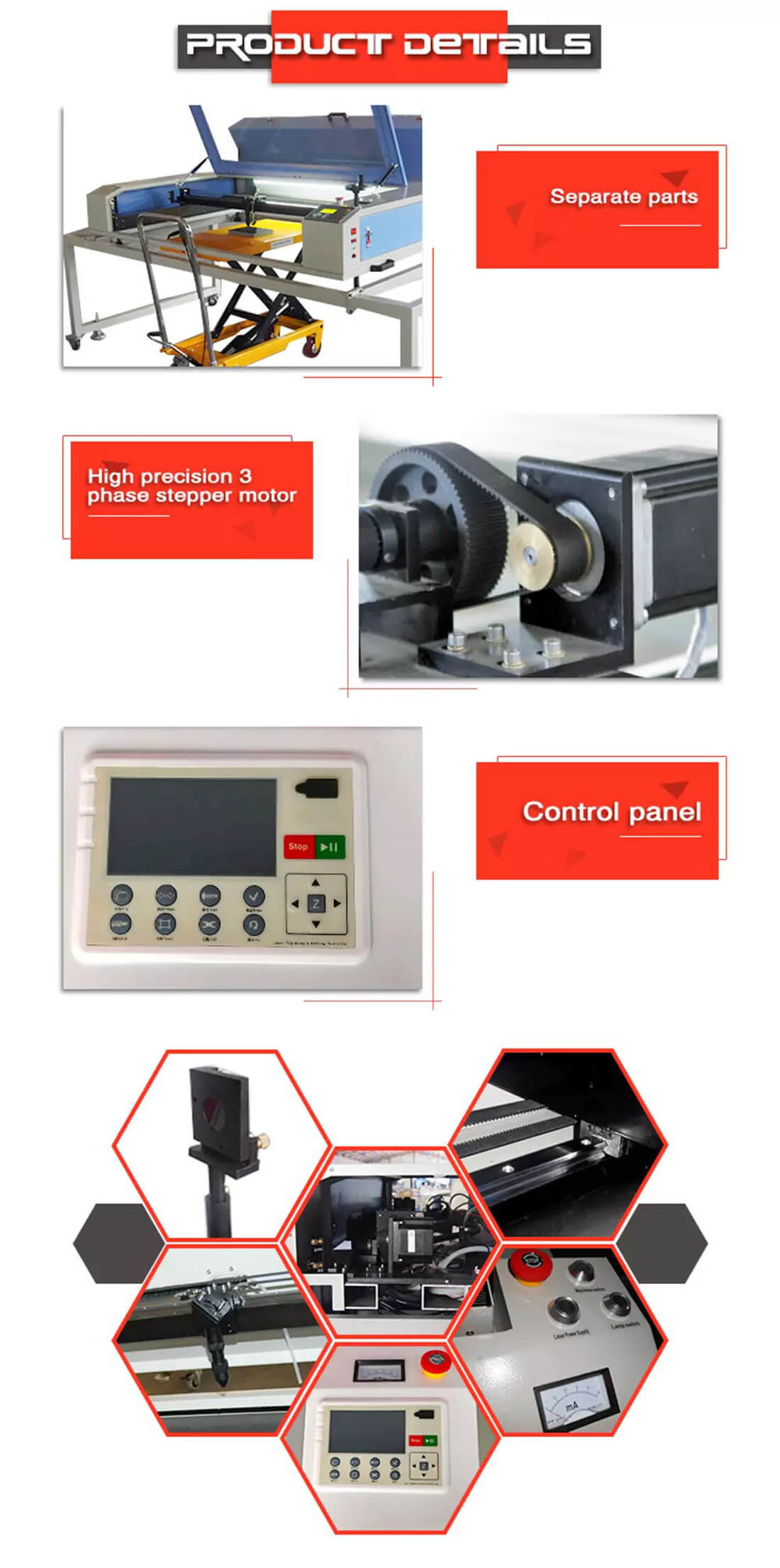 details of laser engraving machine for stone (1)