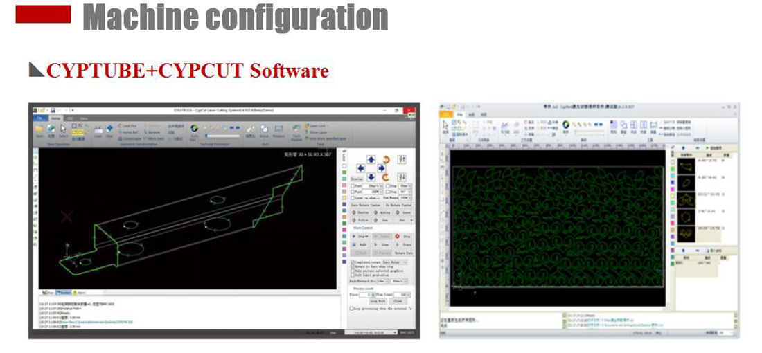 machine configuration for the laser cutting machine